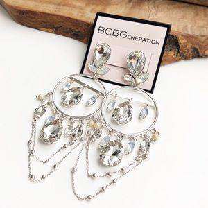 BCBG opaque rhinestone chandelier earrings